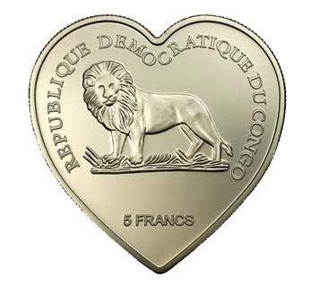 Нужны монеты в форме сердца - Сердце Конго 5 франков
