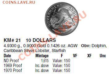 Монеты с крабами, лобстерами, креветками - Ангилья