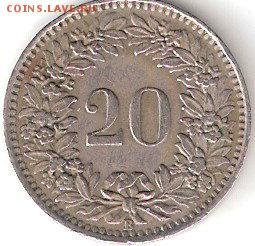 Швейцария 20 Раппен - 1944 года - 20 RAPPEN-1944 P