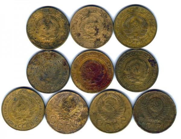 пятаки СССР 1928,2930,31,39,46,49. - 5 к 2-1