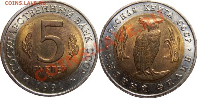 5 рублей 1991 года Красная Книга, до 12.07.2012 в 22-00 Мск - 5 рублей 1991 КК Филин