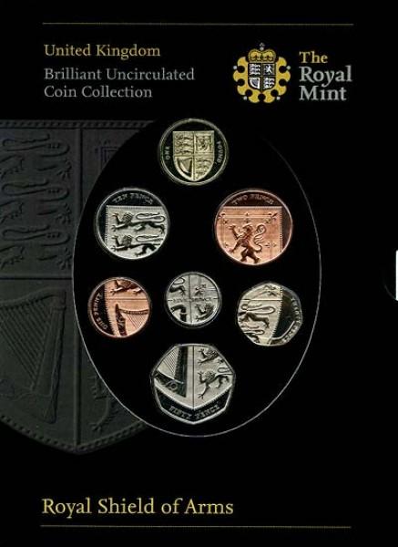 Набор монет Англии, 2008 год, BU - 2008royalshieldofarms7coinbasemetalbucollectioninpresentationsleeve400