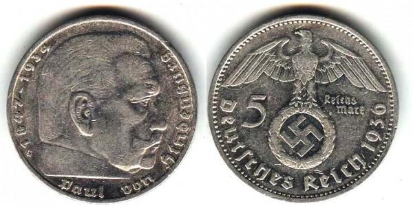 5 марок Рейха 1936G -редкая. - 5м 36 g