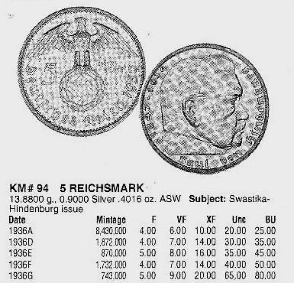 5 марок Рейха 1936G -редкая. - 0