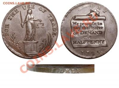 Английские токены. - Англия Токен 1-2 пенни 1795