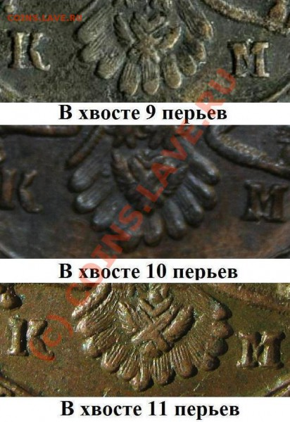 5 коп 1783 КМ (в хвосте 11 перьев) - varianty 1783 KM xvosty
