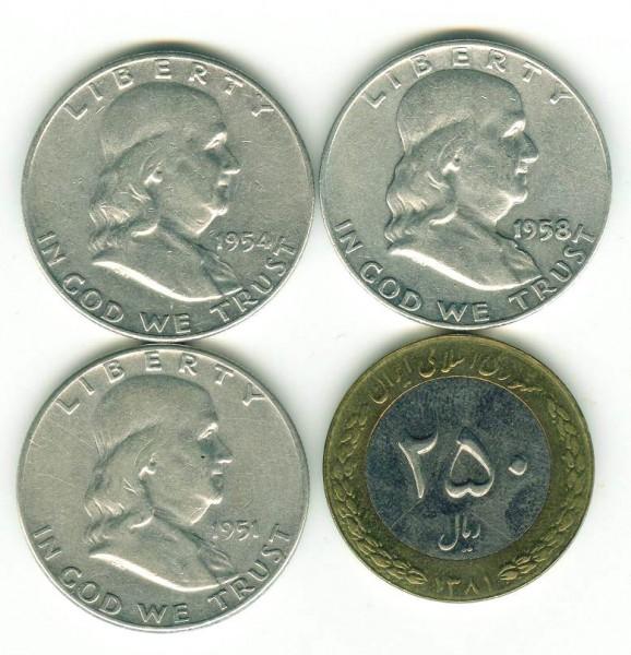 3 полудоллара США серебро + бонус - США_1