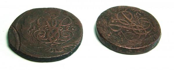 2 копейки с двойными датами 1759(1757),1758(1755),1763(1756) - DSC00089