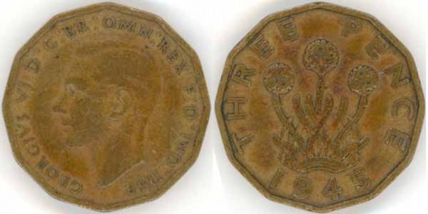 Оцените 3 пенса, 1945 г. - 3pence
