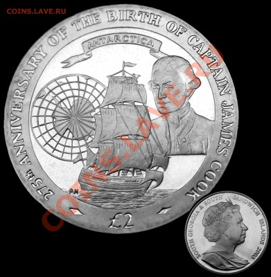 В центре монеты корабль Д.Кука,скорей всего это флагман экспедиции,в которой участвовали два корабля — «Резолюшн» водоизмещением 462 тонны, которому отводилась роль флагмана, и «Эдвенчер», имевший водоизмещение 350 тонн. Капитаном на «Резолюшн» был сам Кук, на «Эдвенчер» — Тобиас Фюрно. - д.кук.JPG