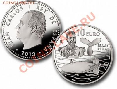 На реверсе серебряной монеты слева изображен портрет Исаака Пераля.В центре, на фоне стилизованного изображения волн, показана первая испанская торпедная субмарина. - Испания