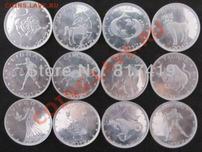 Купллю наборы Somaliland. - FREE-SHIPPING-Somaliland-12-Constellation-12-PCS-Coins-Set-Diameter-25mm-New-Phase-And-100-Genuine