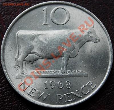ГЕРНСИ - 10 пенсов 1968 - Корова - до 5 октября - 520