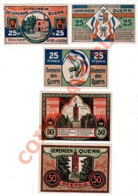 Германия, QUERN, комплект 3×25₰+2×50₰+1 M, до 4.10 @ 22:00 - banknote_0919