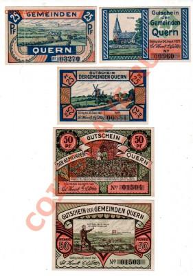 Германия, QUERN, комплект 3×25₰+2×50₰+1 M, до 4.10 @ 22:00 - banknote_0918