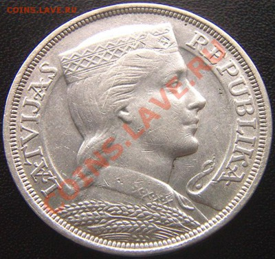 Латвия_5 латов 1929. Серебро; до 02.10_22.08мск - 6473