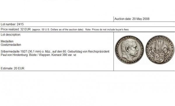 5 марок (медаль?) 1927 D - С