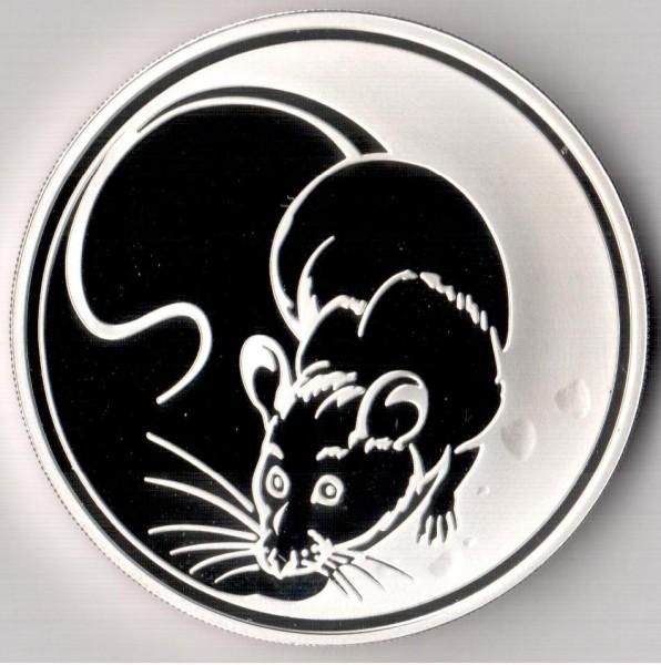 3 рубля, 2008 год. Лунный календарь. Год крысы. - Мышьбезк2.JPG