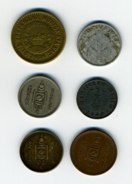 5менге, 1франк, 10рейхспфенингов и монеты с иероглиф,оцените - монеты_4