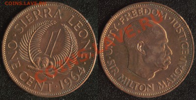 Сьерра-Леоне 1 цент 1964 до 22:00мск 09.12.13 - Сьерра-Леоне 1 цент 1964 (75)