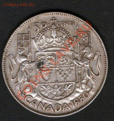 Ag. КАНАДА 50 центов 1950 Георг VI до 9.12-22 - 1950 Canada 50 cents 11.6g 800 silver Revers