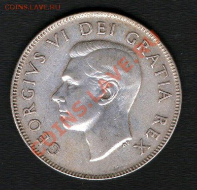 Ag. КАНАДА 50 центов 1950 Георг VI до 9.12-22 - 1950 Canada 50 cents 11.6g 800 silver Avers