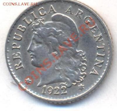 Аргентина 5 центаво 1922 г. 06.12.13 г. 22-00 МСК . - Аргентина 5 ц 1922