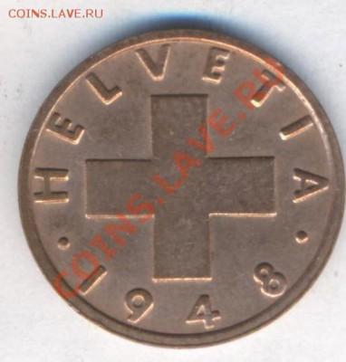 Швейцария 2 раппена 1948 г. 06.12.13 г. 22-00 МСК . - Швейцария 2 р 1948 1