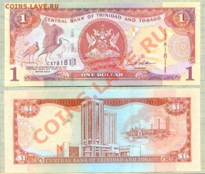 Боны иностранные от 5 руб., поштучно и наборами, UNC - Тринидад и Тобаго 2002 1доллар 40р