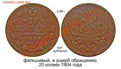 Фальшивые монеты России до 1917г сделанные в ущерб обращению - фальшивый 20 копеек 1904 года_2.JPG