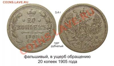 Фальшивые монеты России до 1917г сделанные в ущерб обращению - 20 копеек 1905 года медно-никель