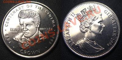 КИНЕМАТОГРАФ на монетах и жетонах - 1 крона 1996 Гибралтар, 100-летие кино, Элвис Пресли