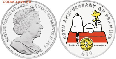 КИНЕМАТОГРАФ на монетах и жетонах - BVI-Commemorative-60th-Anniversary-Peanuts-Silver-Proof-Coin