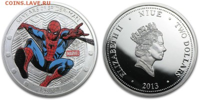 КИНЕМАТОГРАФ на монетах и жетонах - 2013-NIUE-SPIDERMAN-COIN