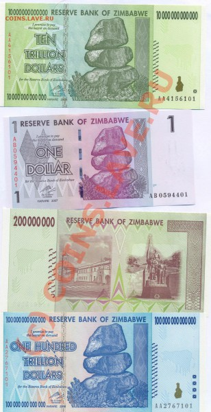 Боны Зимбабве 1$, 200млн.$, 10трл.$, - 11