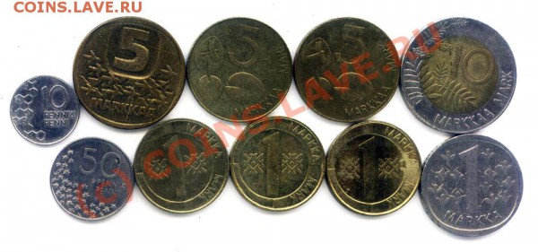 L15 Набор монет Финляндии 10 шт. до 01.05 в 22.00 - L15 Finland -2