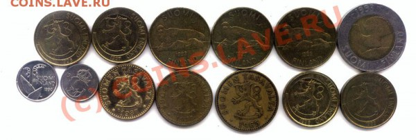 L25 Набор монет Финляндии 13 шт. до 01.05 в 22.00 - L25 Finland -2