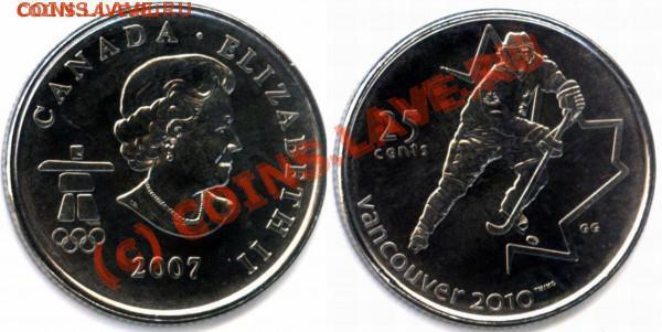 L15 Набор монет Финляндии 10 шт. до 01.05 в 22.00 - t_l10_canada_hockey_quarter_2007__3_72084