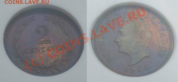 ~~~~~2 сентаво 1974 Сальвадор в слабе NGC MS64~~~~~ - 2 с Сальвадор 1974 2