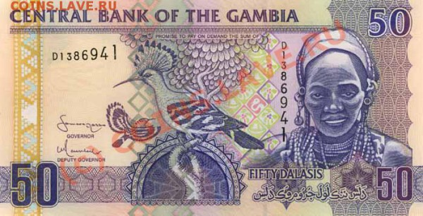 Животные на банкнотах - Gambia-2006-50GMD-obs
