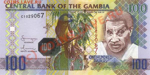 Животные на банкнотах - Gambia-2006-100GMD-obs