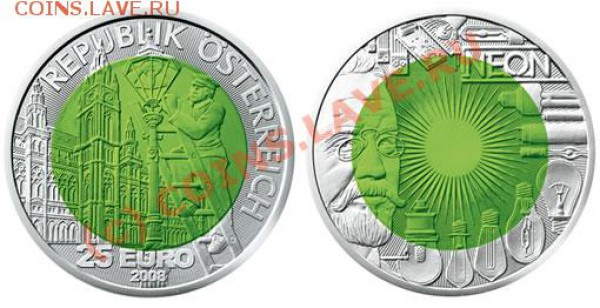 Кто серьёзно собирает(коллекционирует) монеты евро? - 2008-Austrian-Niobium-Coin