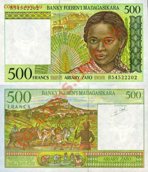 Животные на банкнотах - madagascar_500fr