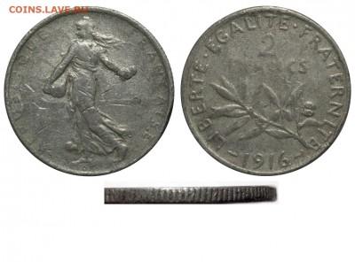 Фальшивые иностранные монеты изготовленные в ущерб обращению - Франция - 2 франка 1916 фальшивые