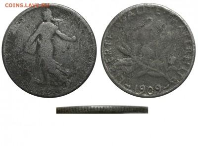Фальшивые иностранные монеты изготовленные в ущерб обращению - Франция - 2 франка 1909 фальшивые