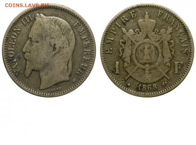 Фальшивые иностранные монеты изготовленные в ущерб обращению - Франция - Наполеон III - 1 франк 1868 - фальшивый