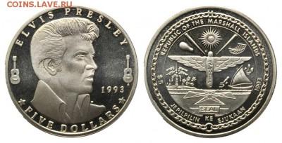 Marshall Islands, Elvis Presley, 5 Dollars 1993 - Элвис Пресли монета 2