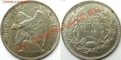 Чили. - 20 центавос 1909
