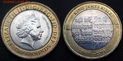 Христианство на монетах и жетонах - Великобритания, 2011, 400 лет Библии Короля Якова