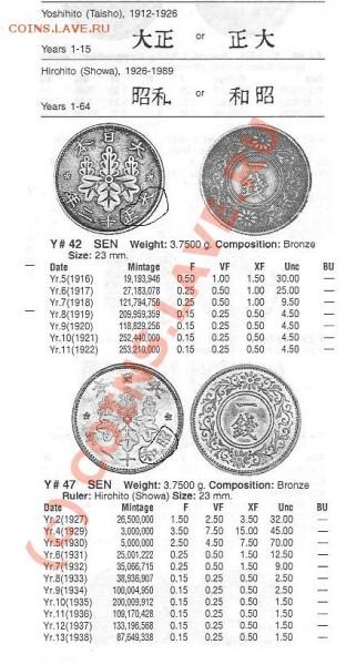 японская монета с цветочками и листьями - 1229